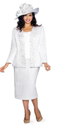 Lace suit jacket with straight midi skirt and floppy hat