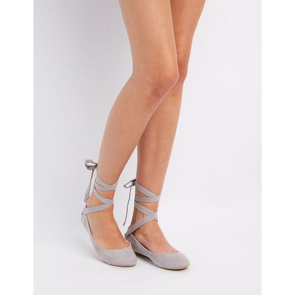 Qupid Lace-Up Ballet Flats ($15) ❤ liked on Polyvore featuring .