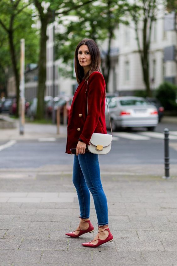 Red blazer lace-up shoes