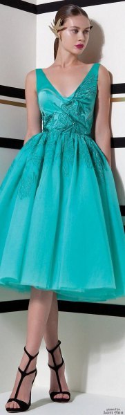 Lake Green Deep V Neck Fit and Flare Midi Dress