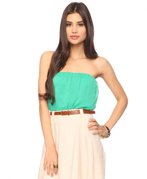 Sea green tube top with white pleated skirt