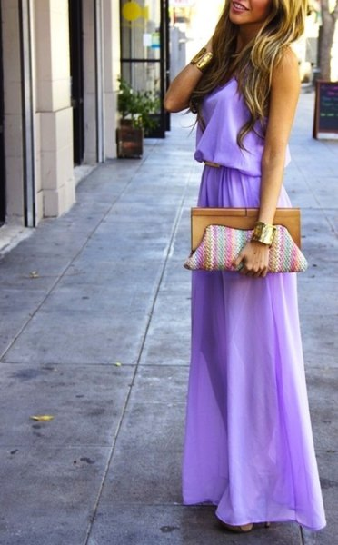 Lavender Gathered Waist Maxi Flared Dress