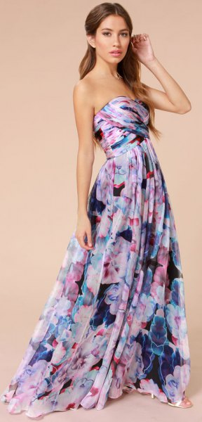 Strapless fit with lavender and purple floral print and floor-length dress with flare