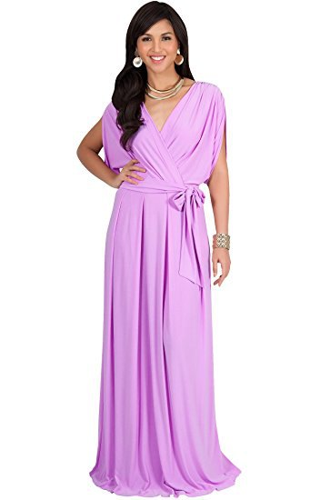 Floor-length wrap dress made of lavender with a statement chain
