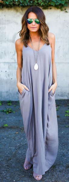 Lavender maxi shift dress with silver open toes