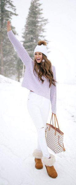 Lavender knit sweater with white skinny jeans