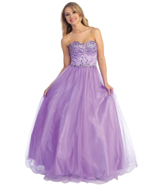 Lavender sequins and tulle fit and flare floor length evening dress