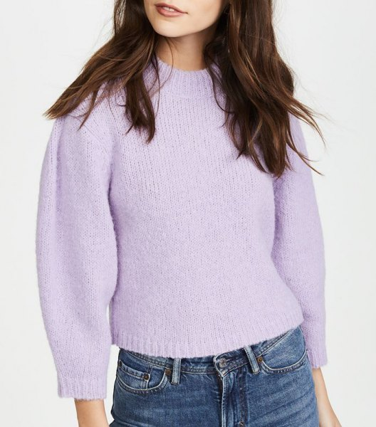 Lavender cropped sweater with medium waist jeans