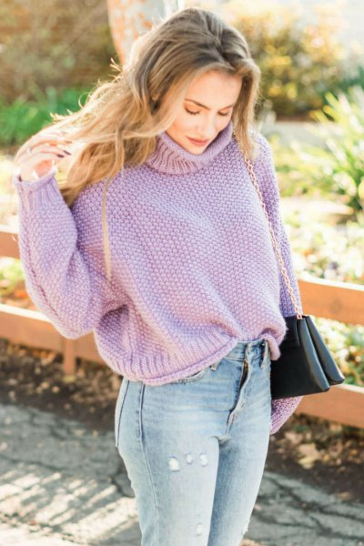 Lavender turtleneck with light blue jeans