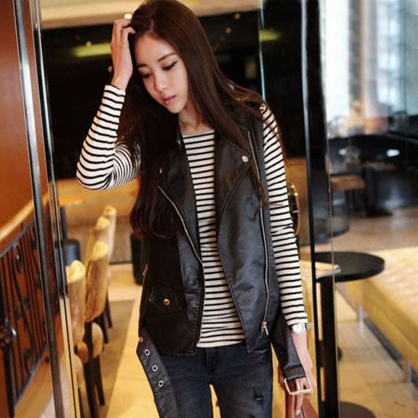 Leather vest with black and white striped long-sleeved T-shirt