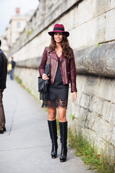 Leather blazer with a black mini dress and a felt hat