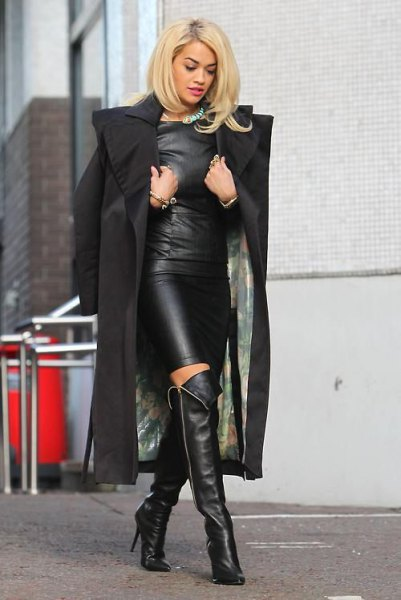 Leather dress over the knee boots