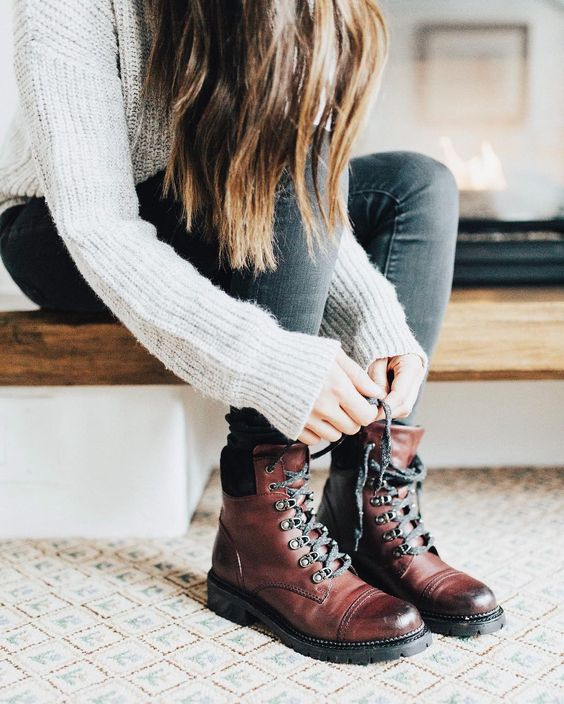 Leather hiking shoes brown sweater