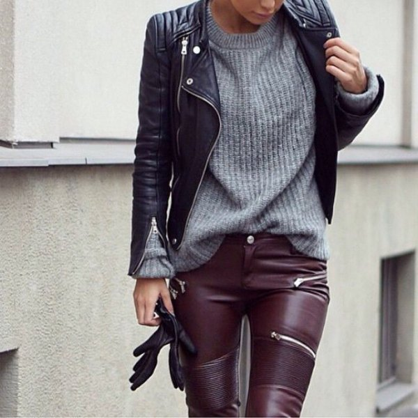 Leather jacket and pants gray knitted sweater