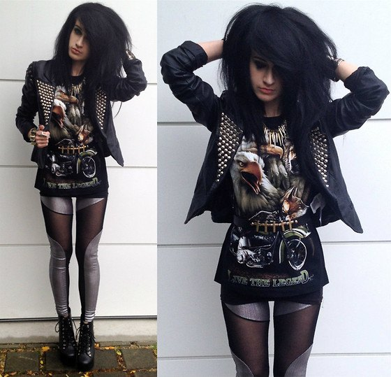 Leather jacket with a graphic tunic T-shirt and silver leggings