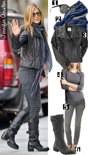 Leather jacket with a gray chiffon scarf and black knee-high motorcycle boots Jennifer Aniston