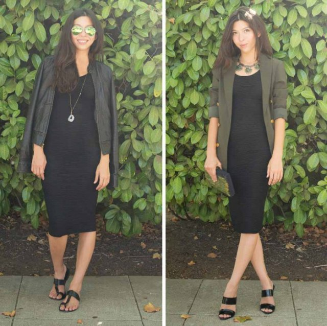 Leather jacket with a midi shift dress and black sandals