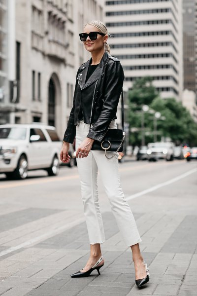 Leather jacket with white cut slim fit jeans