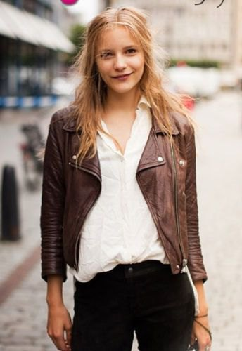Leather jacket with white linen shirt and black jeans