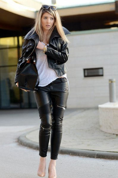 How to Wear Leather on Leather for Women: Outfit Ideas - FMag.c