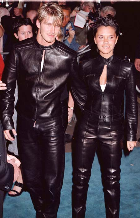 David Beckham on his and Victoria's matching leather outfits .