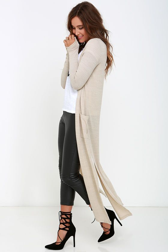Lederhose Tan Long Cardigan Sweater