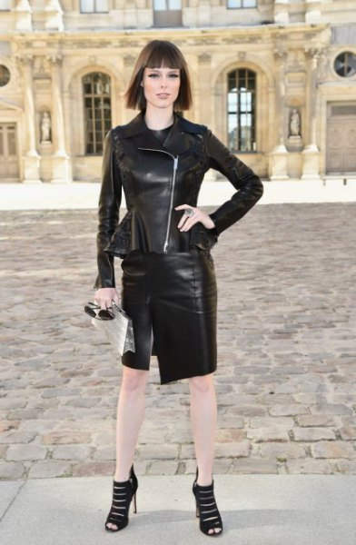 Leather peplum jacket with black mini skirt