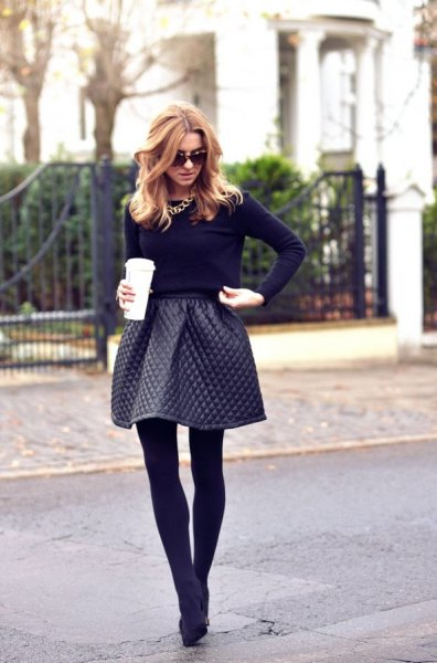 Leather quilted flared mini skirt, black skinny fit sweater