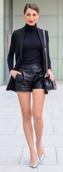 Leather shorts black blazer outfit