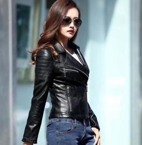 Leather wrap jacket with blue slim fit jeans