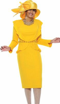 Lemon yellow church suit with midi skirt and gold hat