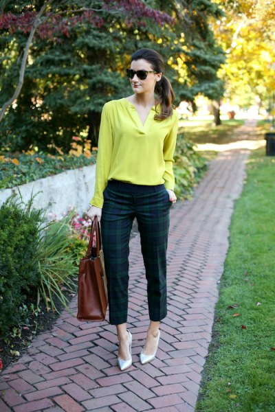 Lemon yellow cotton long-sleeved blouse with green and dark blue checked trousers