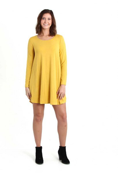 Lemon-yellow long-sleeved swing dress with boots