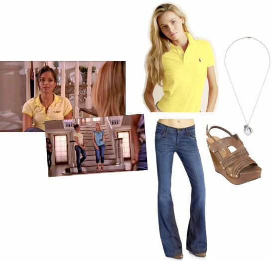 Lemon yellow polo shirt with blue flared jeans