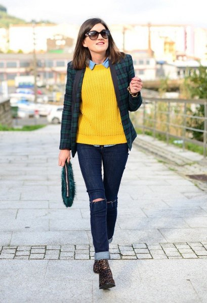 Lemon Yellow Ribbed Knit Sweater Chambray Shirt
