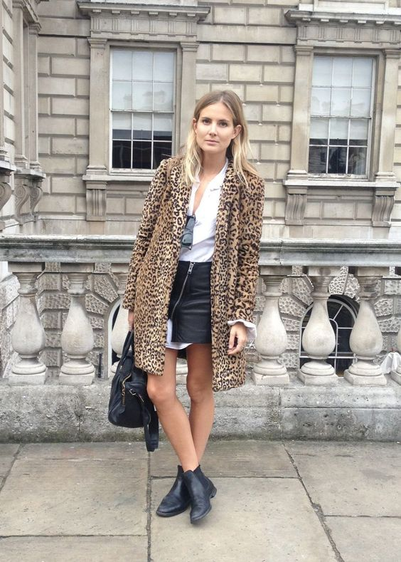 Chelsea boots with leopard coat