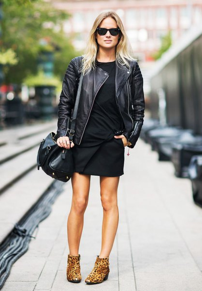 Ankle boots with leopard print leather jacket shift dress