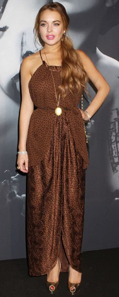 brown neckholder maxi dress with leopard print