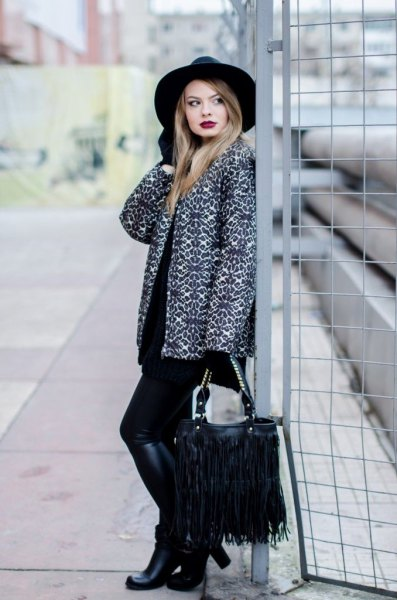Leopard print coat, black knee high boots and fringed pocket