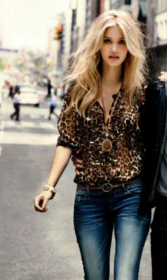 Skinny jeans washed in a leopard print silk blouse