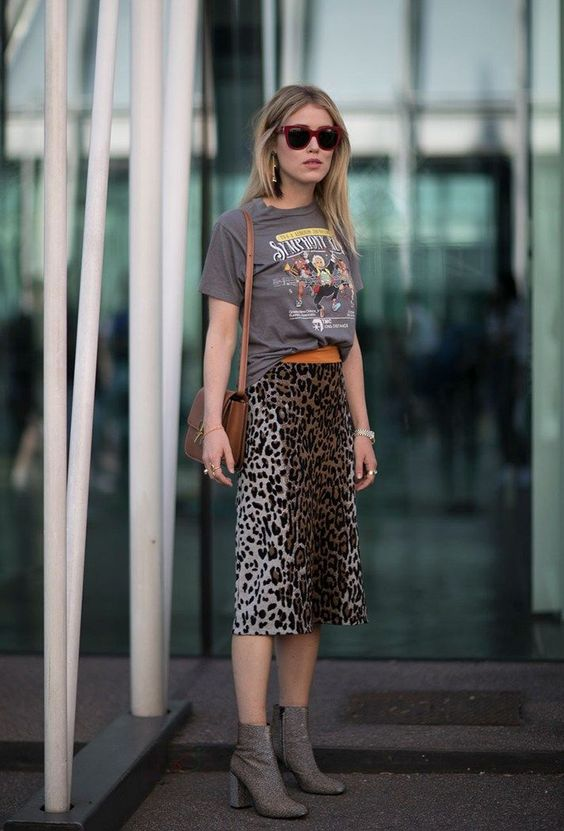 Skirt mix with leopard print