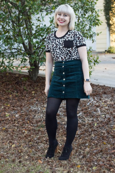 Leopard print t-shirt with mini skirt