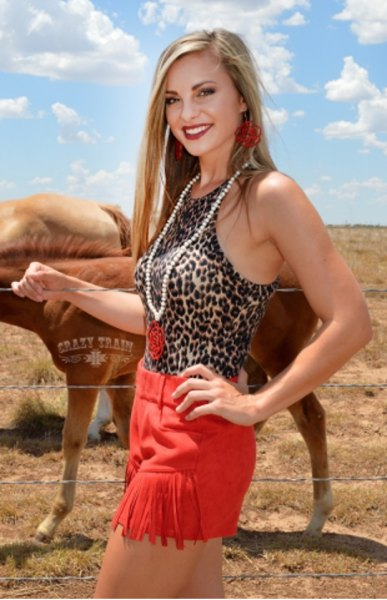 Western shorts with leopard print and red fringes