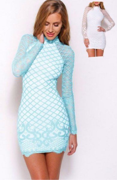 Light blue and white criss-cross printed, long-sleeved, figure-hugging mini dress
