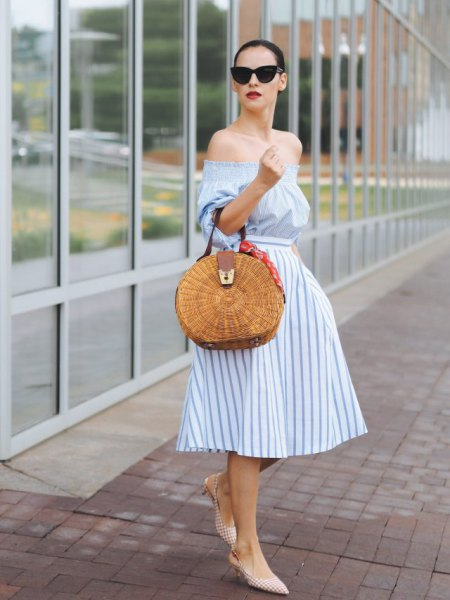 Light blue and white striped fit and flared midi dress
