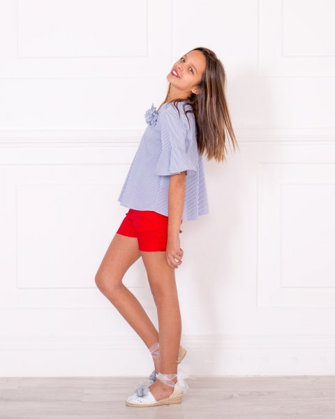 light blue and white striped short-sleeved blouse with sandals