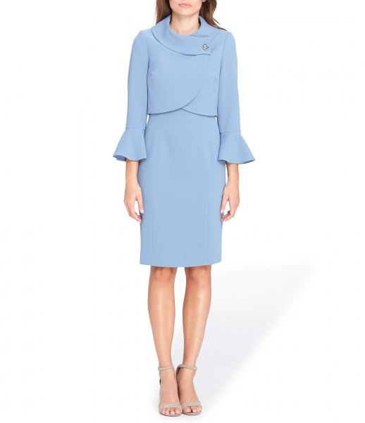 light blue jacket dress with bell sleeves