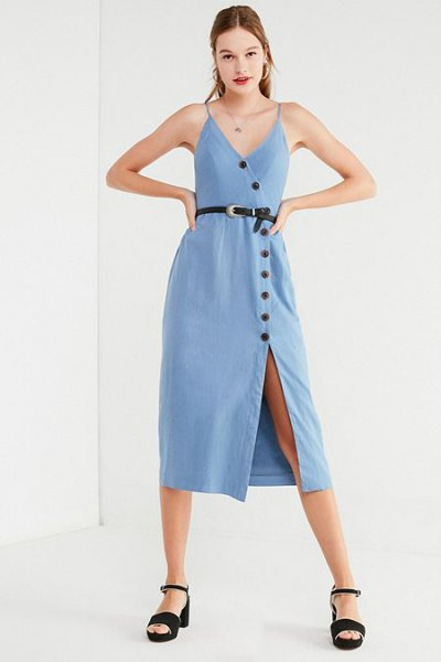 Light blue midi dress with button fastening and black, open toe heels
