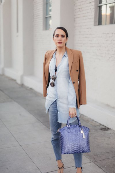 Light blue chambray shirt dress with buttons and jeans and a handbag made of faux jeans