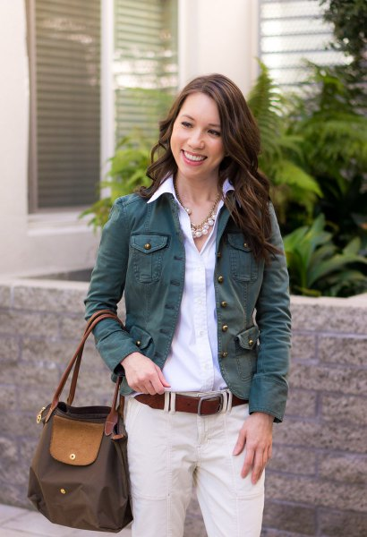 light blue shirt with buttons and ivory chinos